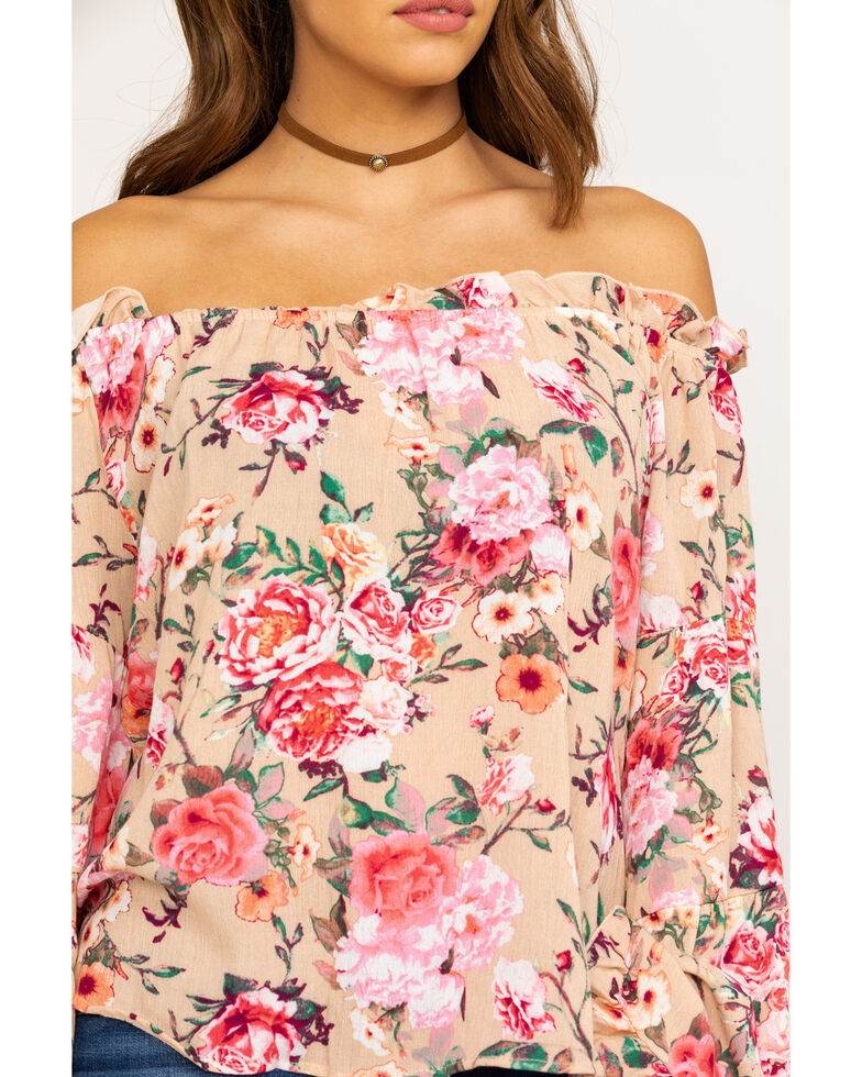 Red Label by Panhandle Women's Coral Floral Crinkle Off Shoulder Bell Sleeve Top, Coral, hi-res