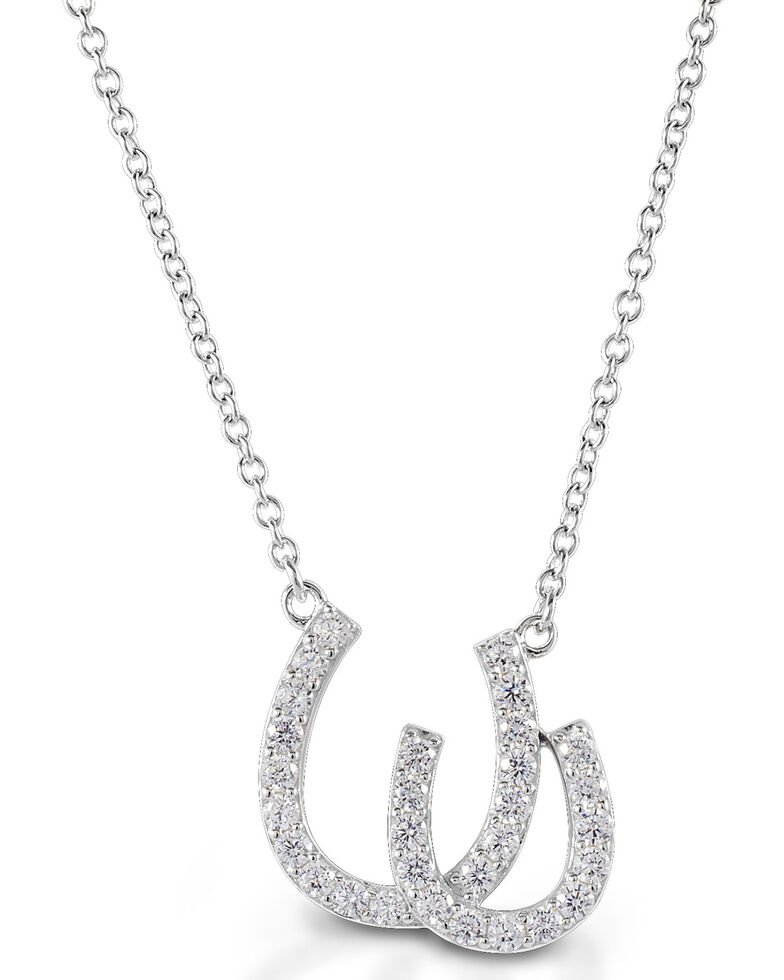 Kelly Herd Women's Double Horseshoe Necklace, Silver, hi-res
