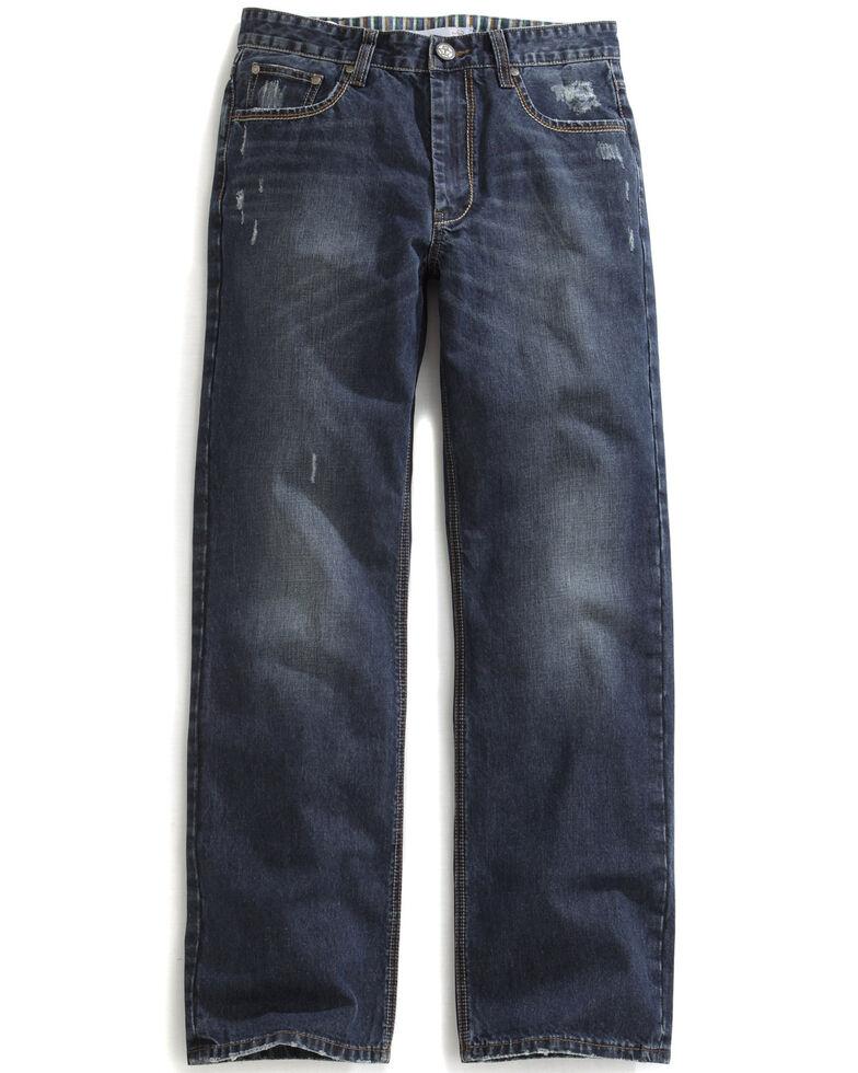 Tin Haul Men's Regular Joe Straight Leg Striped Lining Jeans, Denim, hi-res