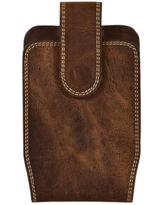 Trendition Men's Justin Double Stitched Cell Phone Hoslter, Brown, hi-res