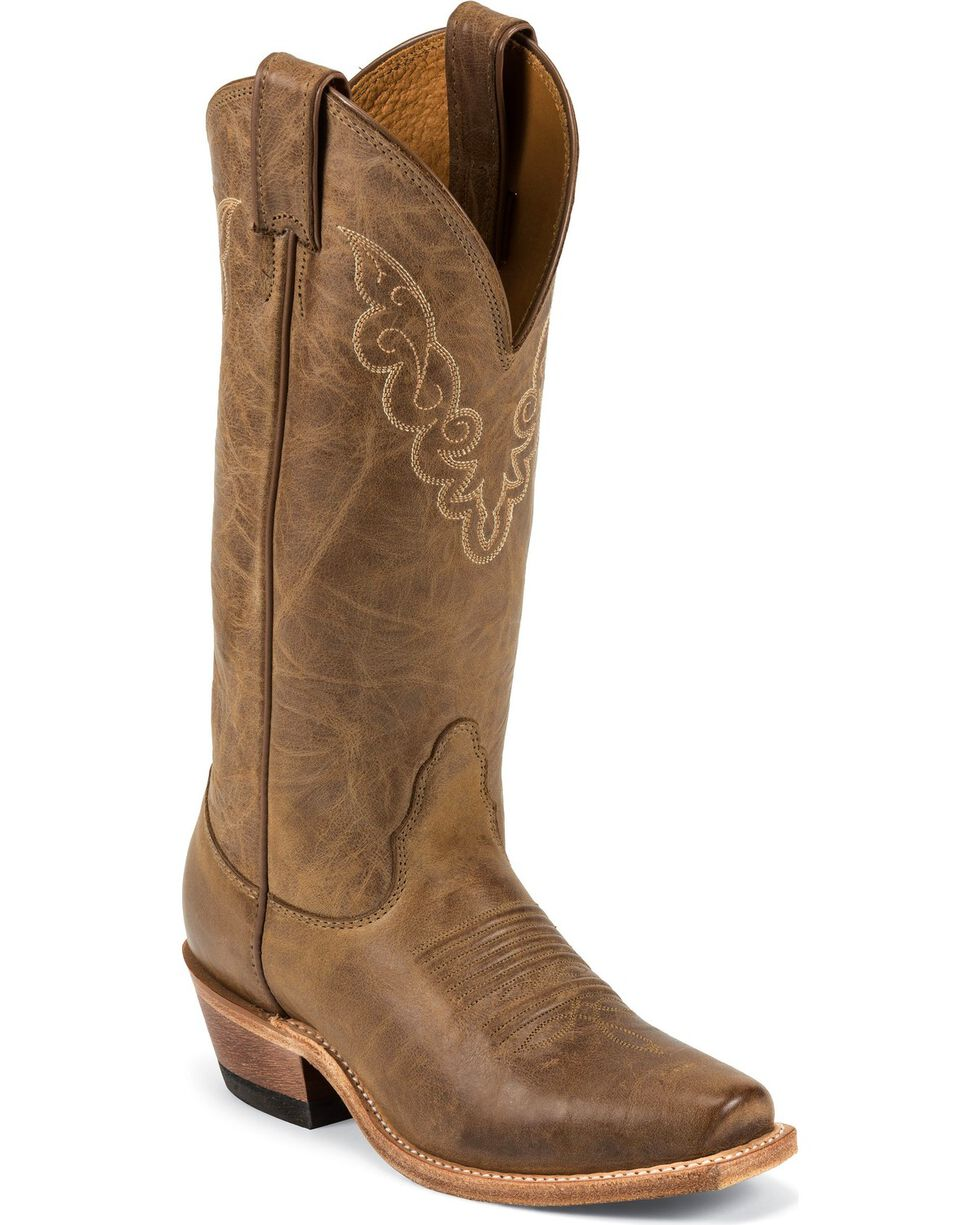 Nocona Cowgirl Boots - Square Toe, Tan, hi-res