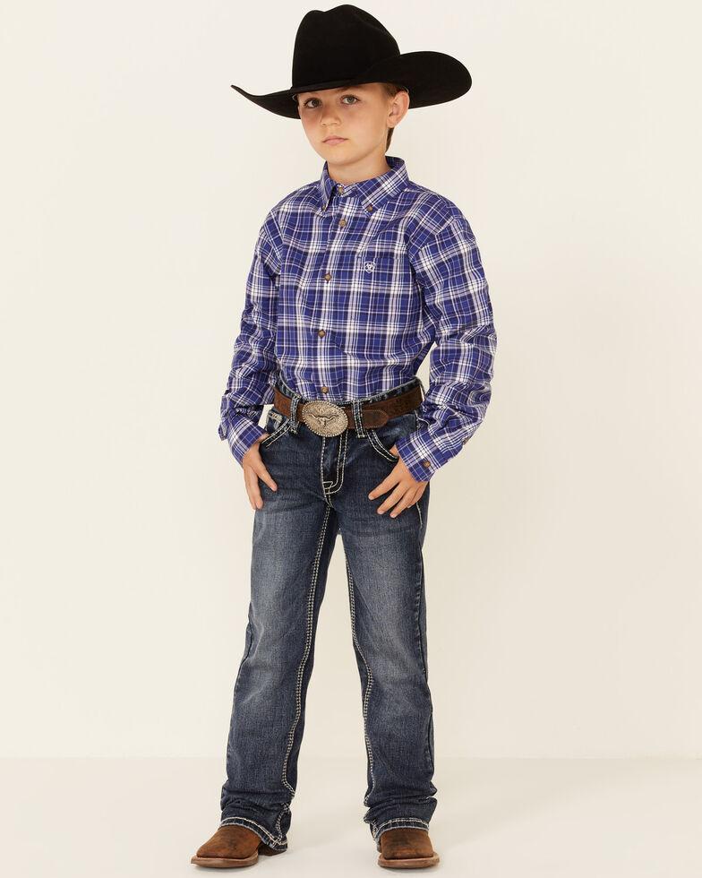 Ariat Boys' Paul Plaid Long Sleeve Button-Down Western Shirt , Navy, hi-res
