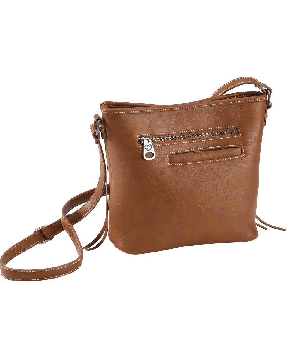 Shyanne Women's Tooled Hair-On Calf Patchwork Crossbody Bag, Brown, hi-res
