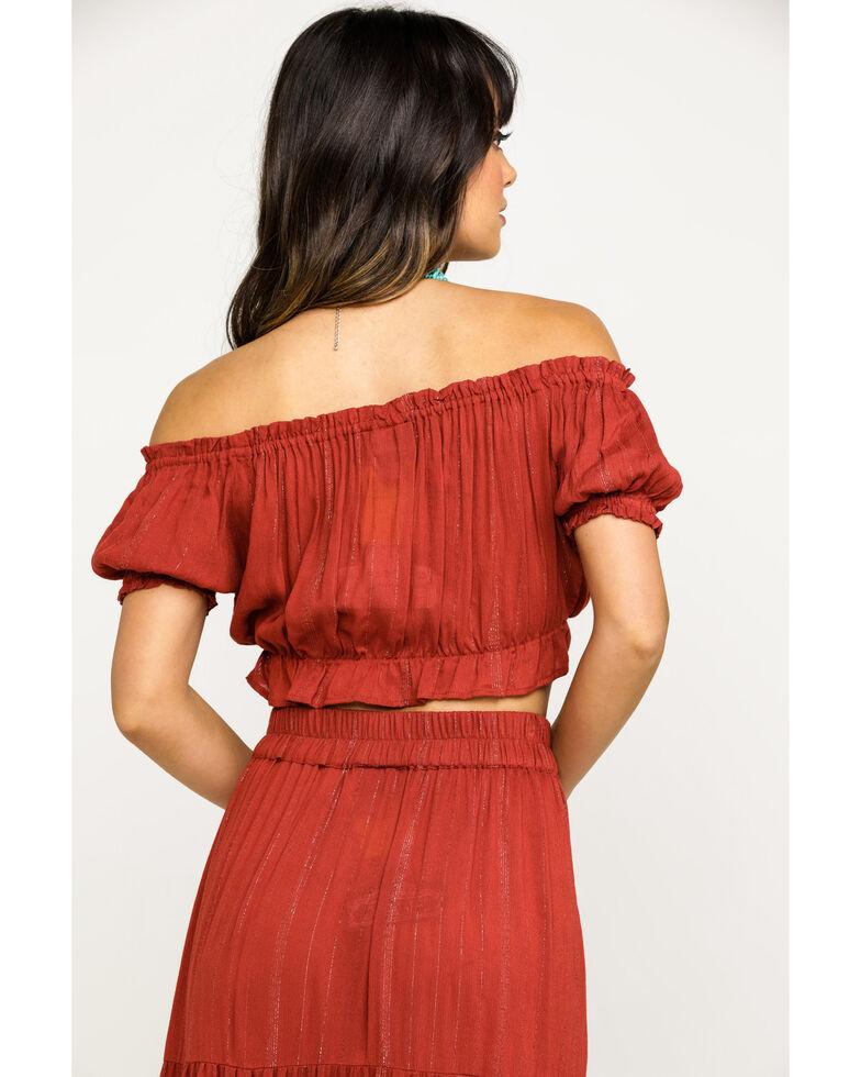 Angie Women's Solid Split Maxi Skirt, Rust Copper, hi-res