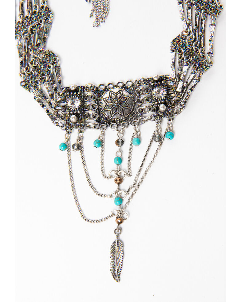 Shyanne Women's Blue Falls Fancy Chain Swag Choker Set, Silver, hi-res