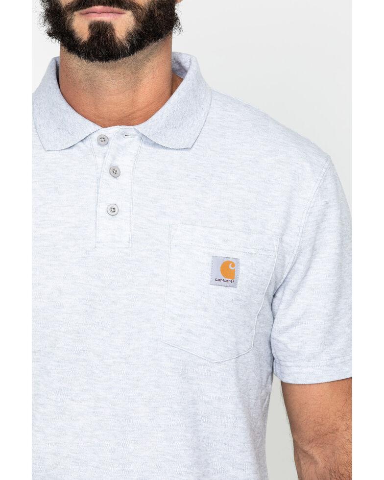 Carhartt Men's Contractor's Pocket Short Sleeve Polo Work Shirt - Big & Tall, Hthr Grey, hi-res