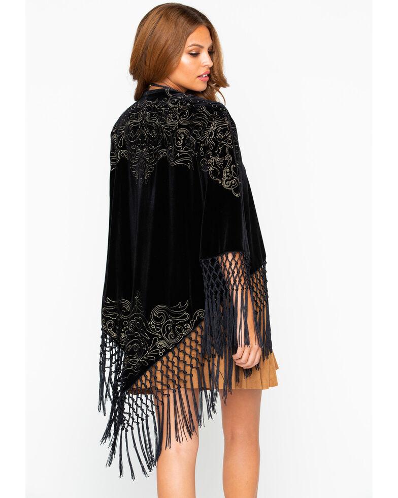 Cowgirl Up Women's Velvet Embroidered Fringe Kimono , Black, hi-res