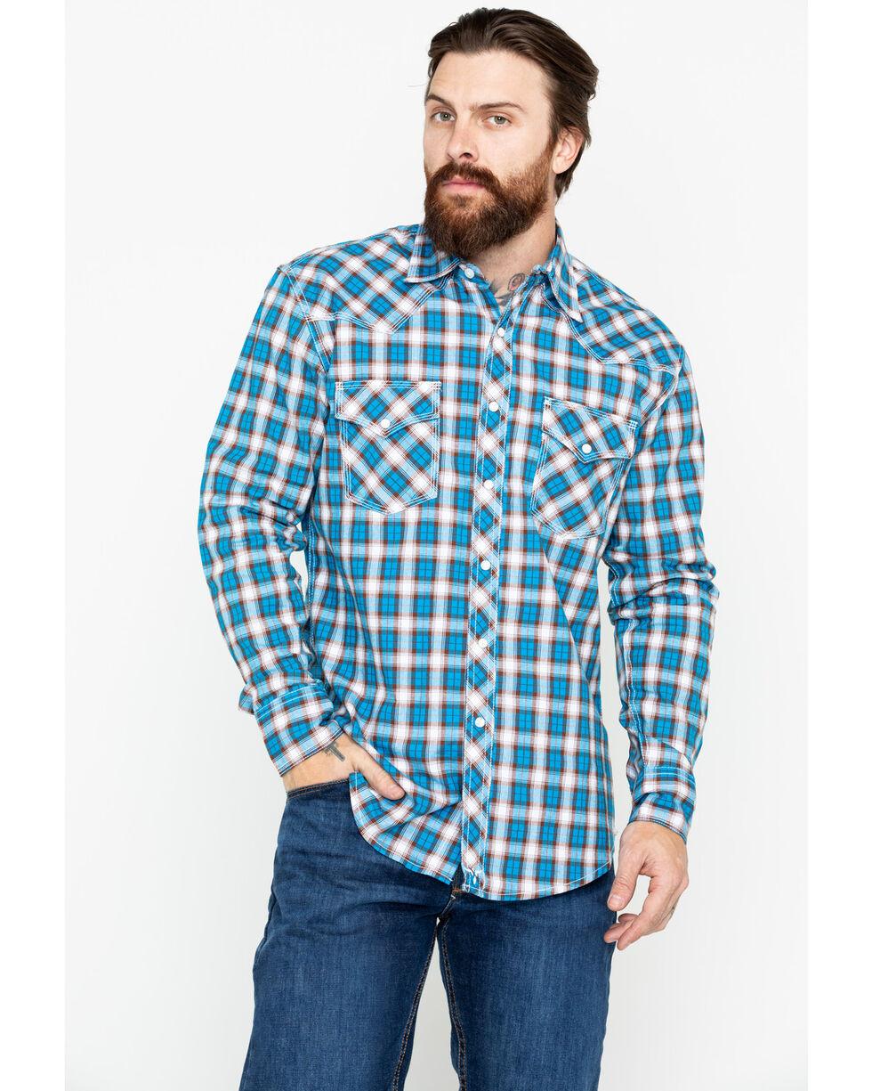 Wrangler 20X Men's Plaid Competition Advanced Long Sleeve Western Shirt , Brown/blue, hi-res