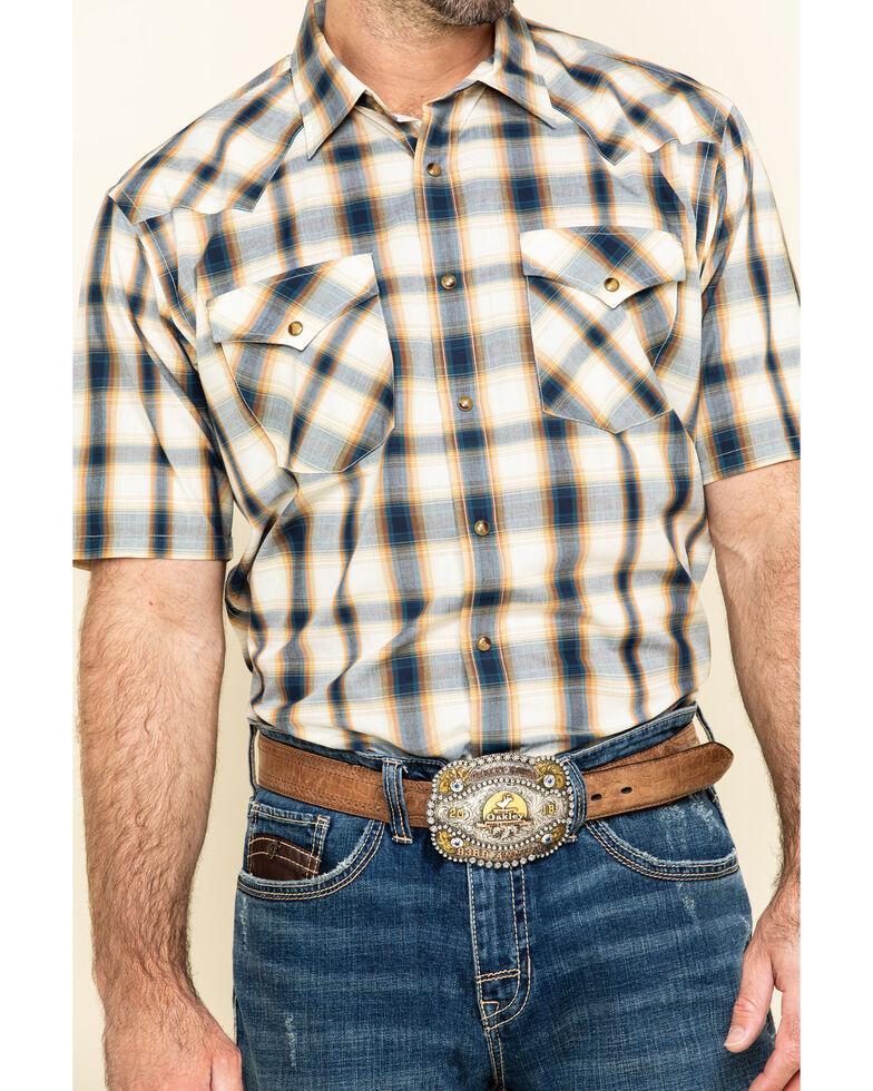Pendleton Men's Navy Frontier Plaid Short Sleeve Western Shirt , Navy, hi-res