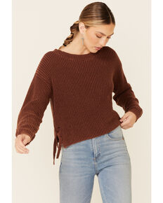 Rock & Roil Denim Women's Brown Side Lace-Up Pullover Crop Sweater , Brown, hi-res