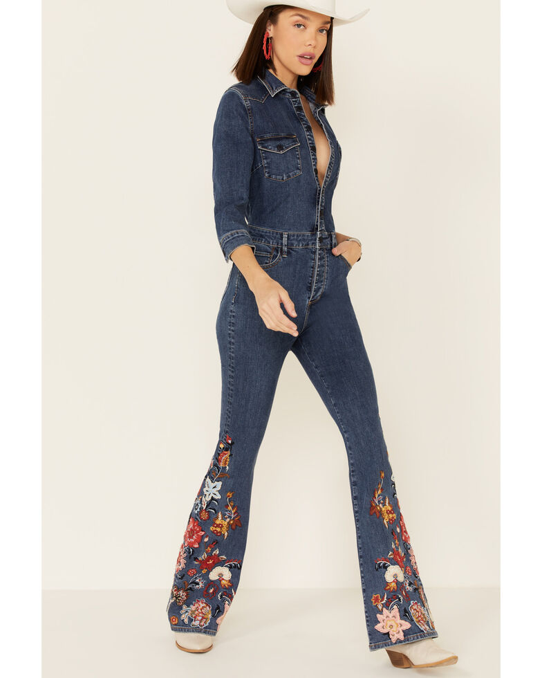 Driftwood Women's Medium Wash Floral Embroidered Flare Jumpsuit , Blue, hi-res