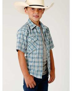 Roper Boys' Blue Woven Plaid Short Sleeve Western Shirt , Blue, hi-res