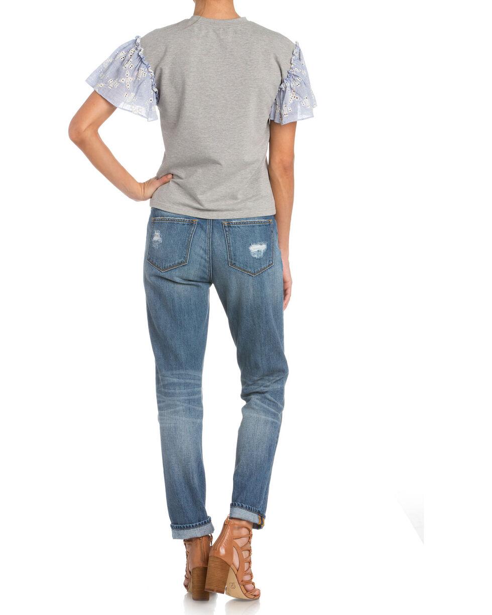 Miss Me Women's Flutter Sleeve Top , Grey, hi-res