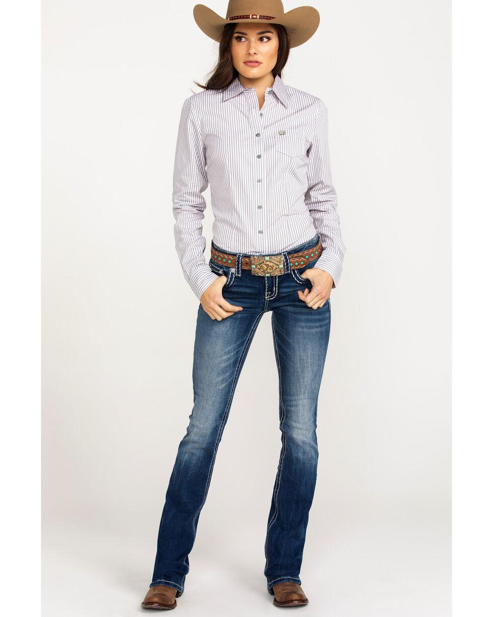 Cinch Women's Striped Logo Button Long Sleeve Western Shirt , Multi, hi-res