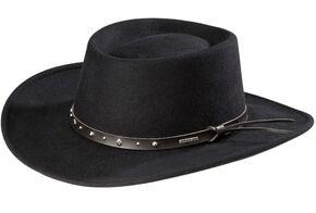 06874c2a681de Stetson Black Hawk Crushable Wool Felt Gambler Hat