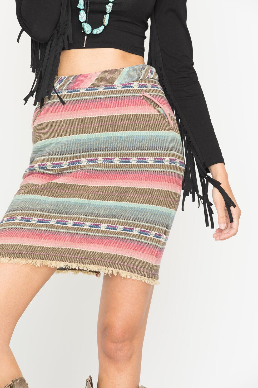 Ryan Michael Women's Stripe Jacquard Skirt, Raspberry, hi-res