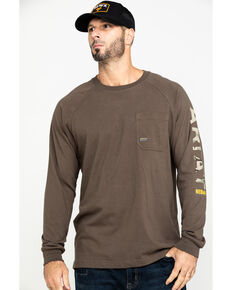 Ariat Men's Moss Green Rebar Cotton Strong Long Sleeve Work Shirt - Big & Tall , Moss Green, hi-res