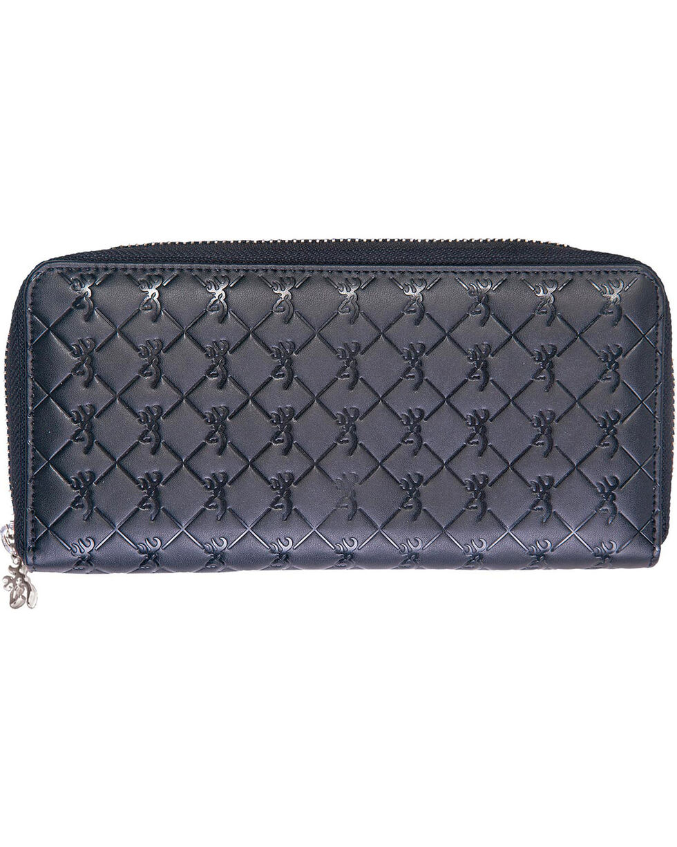 Browning Women's Zip Around Buckmark Wallet, Black, hi-res