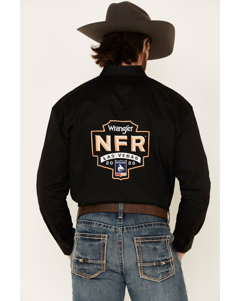 Wrangler Men's Black NFR Logo Long Sleeve Western Shirt , Black, hi-res