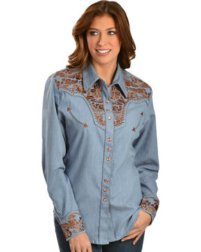 Scully Women's Floral Embroidered Western Shirt, Blue, hi-res