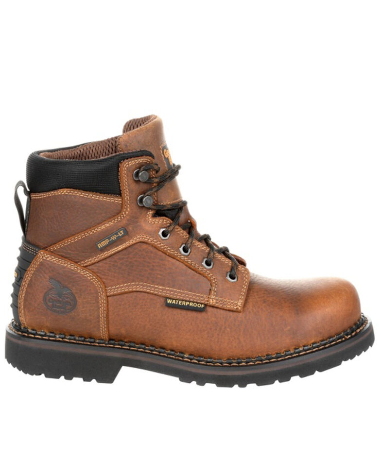 Georgia Boot Men's Giant Revamp Waterproof Work Boots - Steel Toe, Brown, hi-res