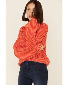 Free People Women's Sweetheart Rib Knit Sweater, Red, hi-res