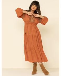 Nostalgia Women's Rust Embroidered Tassel Maxi Dress, Rust Copper, hi-res
