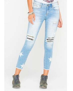 Miss Me Women's At Attention Mid-Rise Ankle Skinny Jeans, Indigo, hi-res