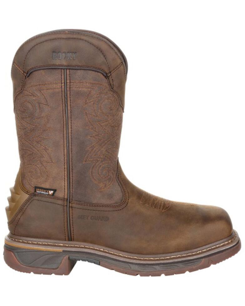 Rocky Men's Iron Skull Waterproof Western Work Boots - Composite Toe, Distressed Brown, hi-res