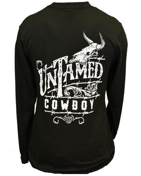Cowboy Hardware Men's Untamed Cowboy Longhorn Skull Graphic Long Sleeve Shirt , Black, hi-res