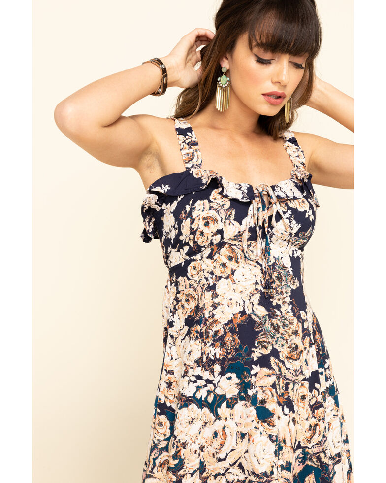 Angie Women's Midnight Floral Ruffle Dress  , Navy, hi-res