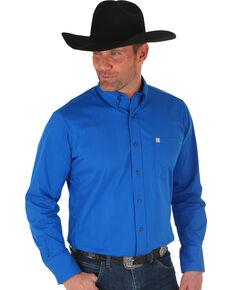 Wrangler Men's Blue Solid Performance Long Sleeve Western Shirt , Blue, hi-res