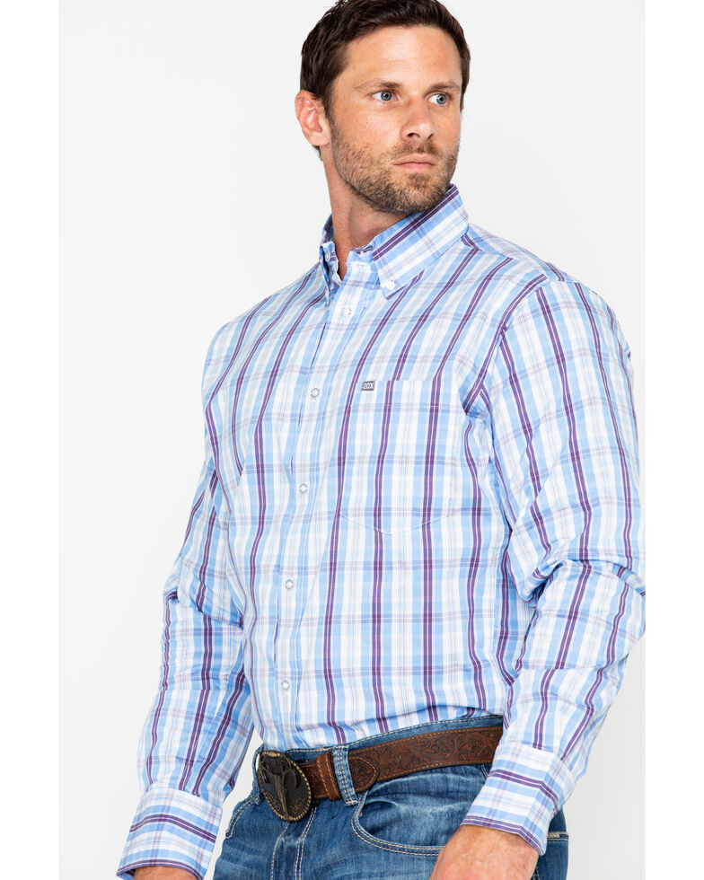 Wrangler 20X Men's Purple Plaid Performance Long Sleeve Western Shirt, Periwinkle, hi-res