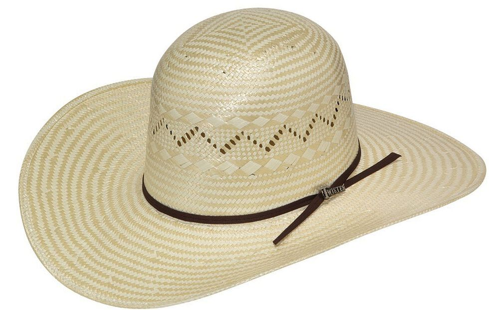 Twister Open Crown Poly Rope Straw Cowboy Hat, Tan, hi-res