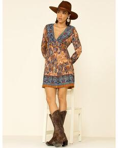 Angie Women's Blue Border Print Dress, Rust Copper, hi-res