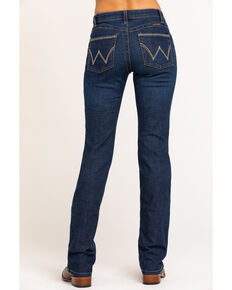 Wrangler Women's Dark Mid Rise Simple Q-Baby Ultimate Riding Bootcut Jeans , Blue, hi-res