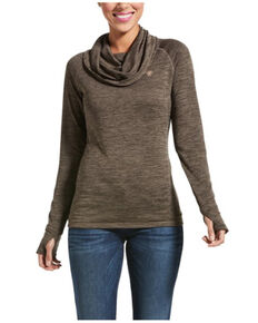 Ariat Women's Brown Baynan Gridwork Cowl Baselayer Top, Brown, hi-res