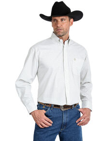 George Strait by Wrangler Men's Small Circle Geo Print Long Sleeve Western Shirt , White, hi-res