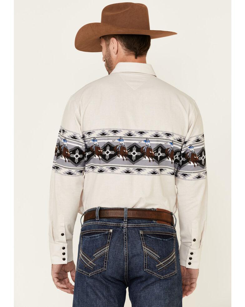 Panhandle Men's Natural Scenic Horse Aztec Border Print Long Sleeve Western Shirt , Tan, hi-res