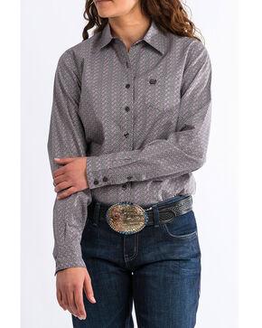 Cinch Women's Western Core Grey/Purple Geo Long Sleeve Button Down Shirt, Grey, hi-res