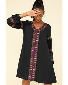 Wrangler Retro Women's Black Embroidered Long Sleeve Dress , Black, hi-res