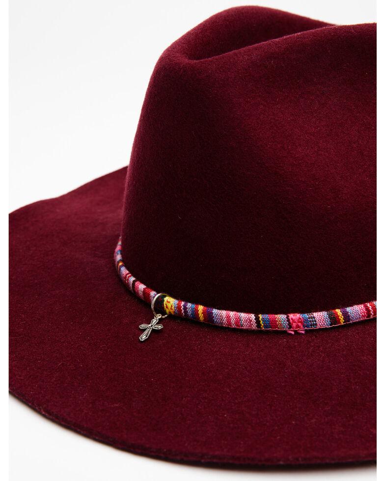 Shyanne Women's Burgundy O Sienna Wool Felt Western Hat , Black, hi-res