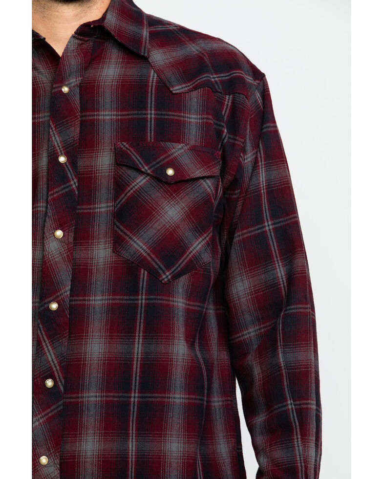 Resistol Men's Palestine Large Ombre Plaid Long Sleeve Western Shirt , Red, hi-res