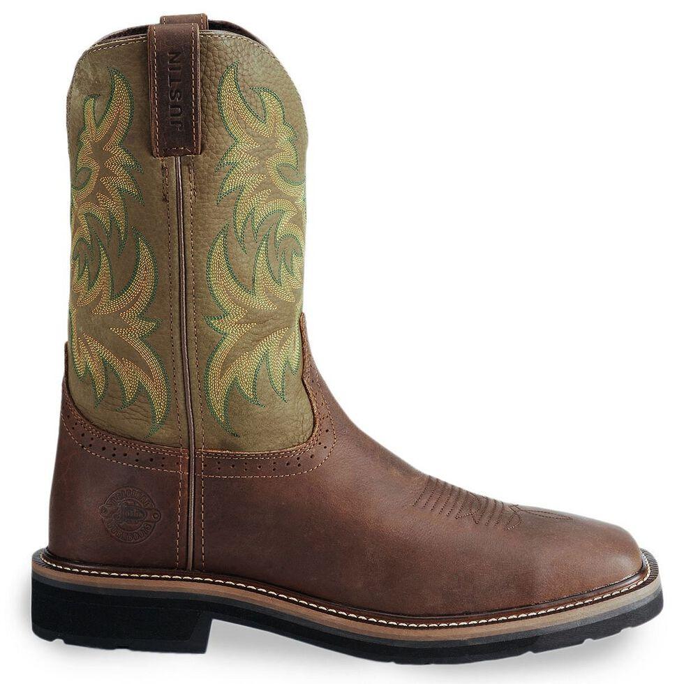 Justin Men's Stampede Driller Brown Work Boots - Soft Toe, Waxed Brn, hi-res