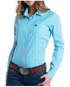 Rough Stock by Panhandle Women's Turquoise Stripe Long Sleeve Shirt - Plus, Turquoise, hi-res