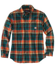 Carhartt Men's Teal Plaid Long Sleeve Button-Down Work Shirt Jacket - Tall , Teal, hi-res