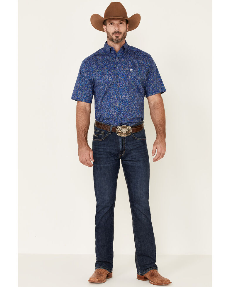 Ariat Men's Blue Berkeley Stretch Geo Print Short Sleeve Western Shirt , Blue, hi-res