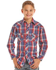 Rock & Roll Cowboy Boys' Red Plaid Long Sleeve Snap Shirt, Red, hi-res