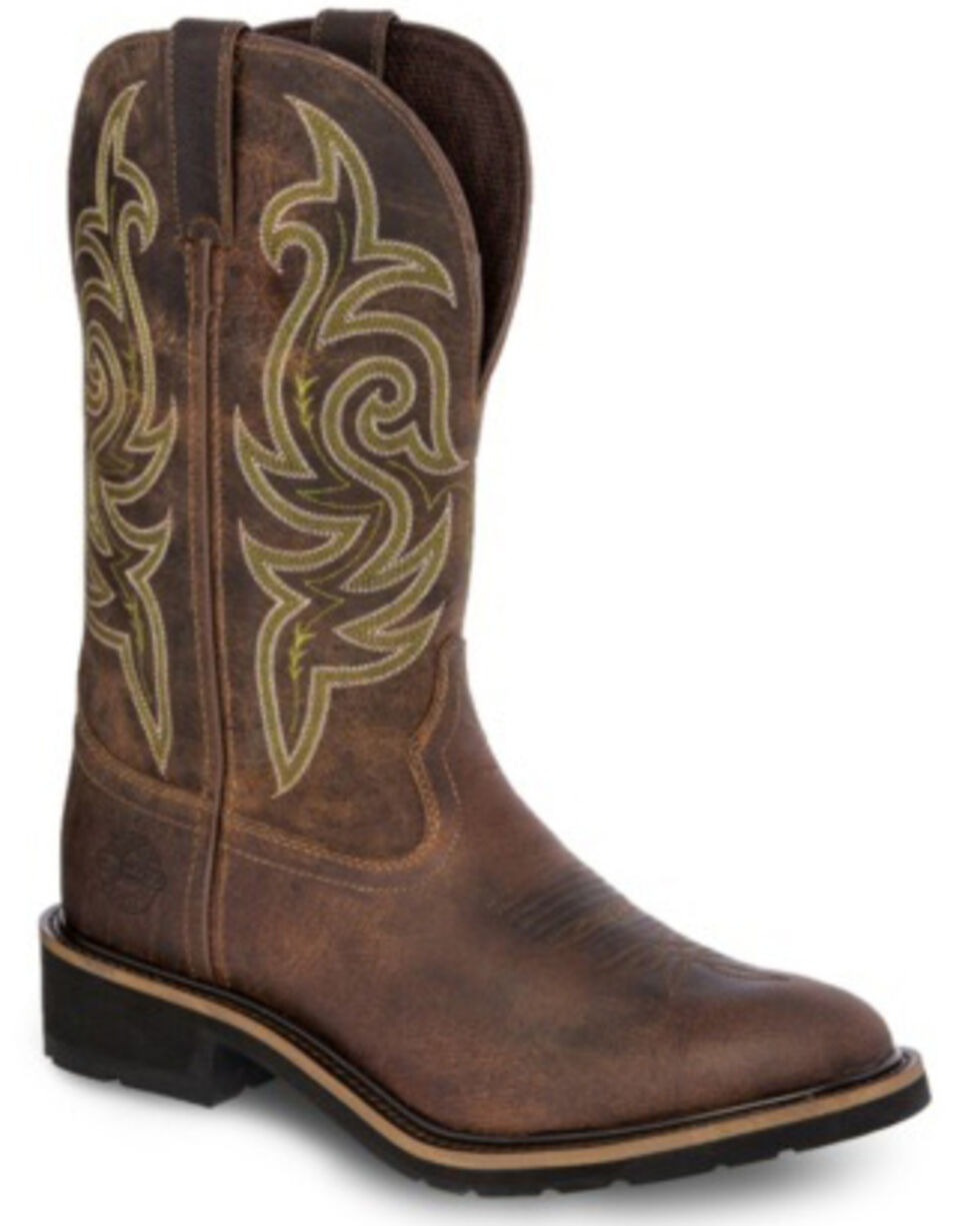 Justin Men's Teague Western Work Boots - Soft Toe, Brown, hi-res