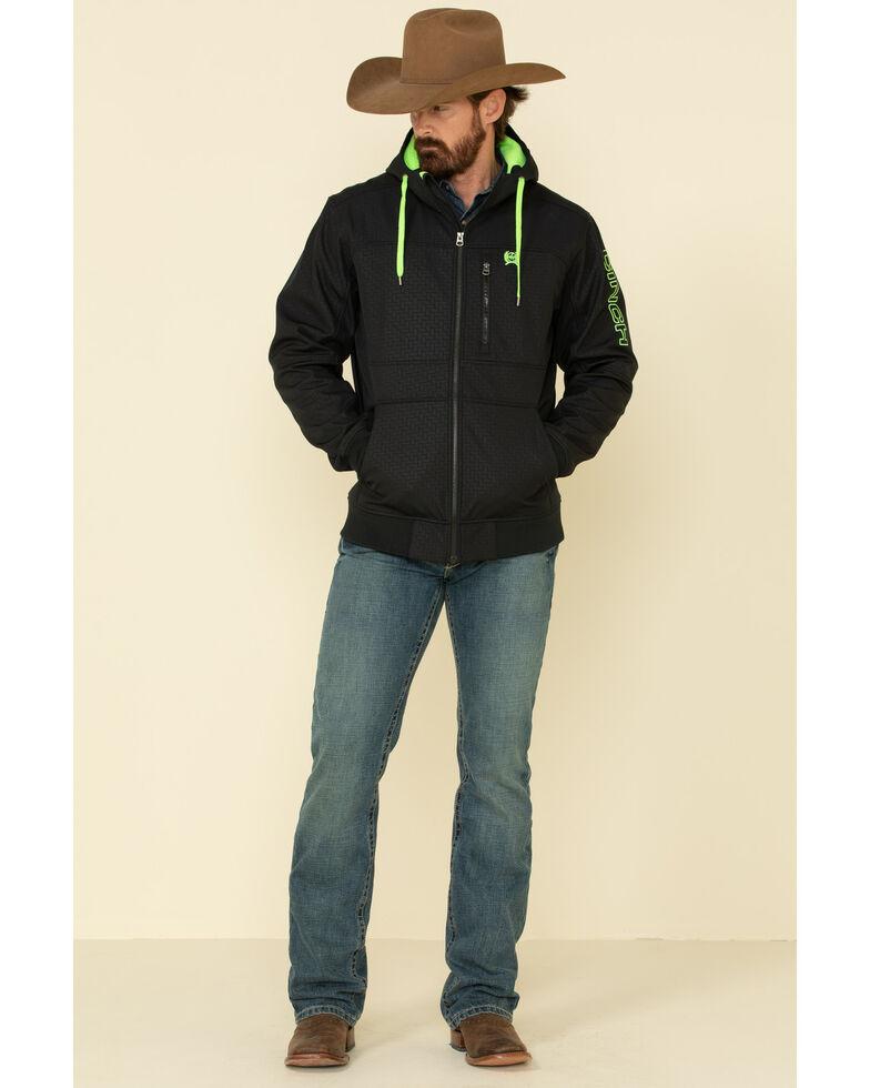 Cinch Men's Black Logo Bonded Hooded Jacket , Black, hi-res